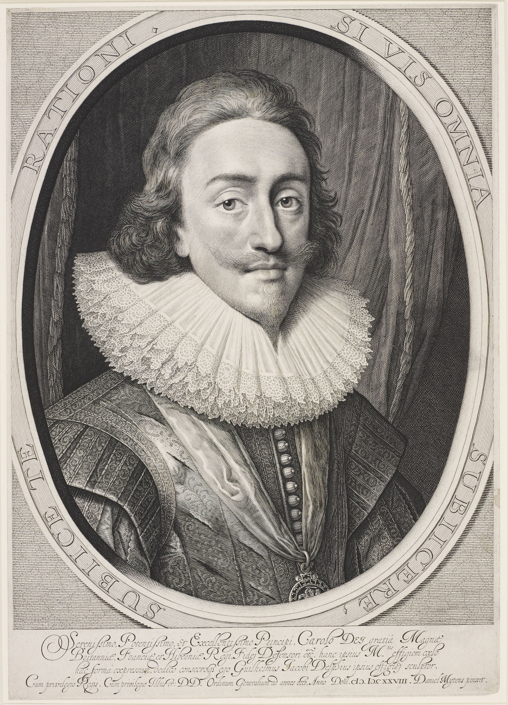 Engraving of Charles I as king. Bust length with long hair, closed ruff, embroidered doublet, and order on ribbon around neck. Within an oval border bearing Latin inscription, within a rectangular frame with Latin inscription below. Borders trimmed. Very
