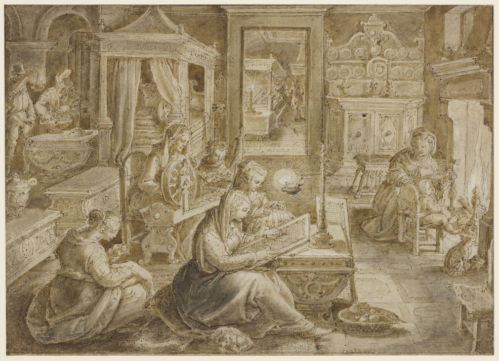 A drawing of a richly decorated room in which four seated women are making embroidery, threads, needle-point and lace. The woman at the spinning-wheel with a child is presumably Cornelia, the daughter of Scipio Africanus and the wife of Tiberius Semproniu