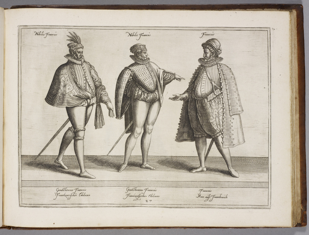 Costume books first appeared during the sixteenth century, and were widely circulated and collected. This well-known example contains 67 plates, engraved by Jean Jacques Boissard (1528-1602). Each plate shows figures from various levels of society, and re