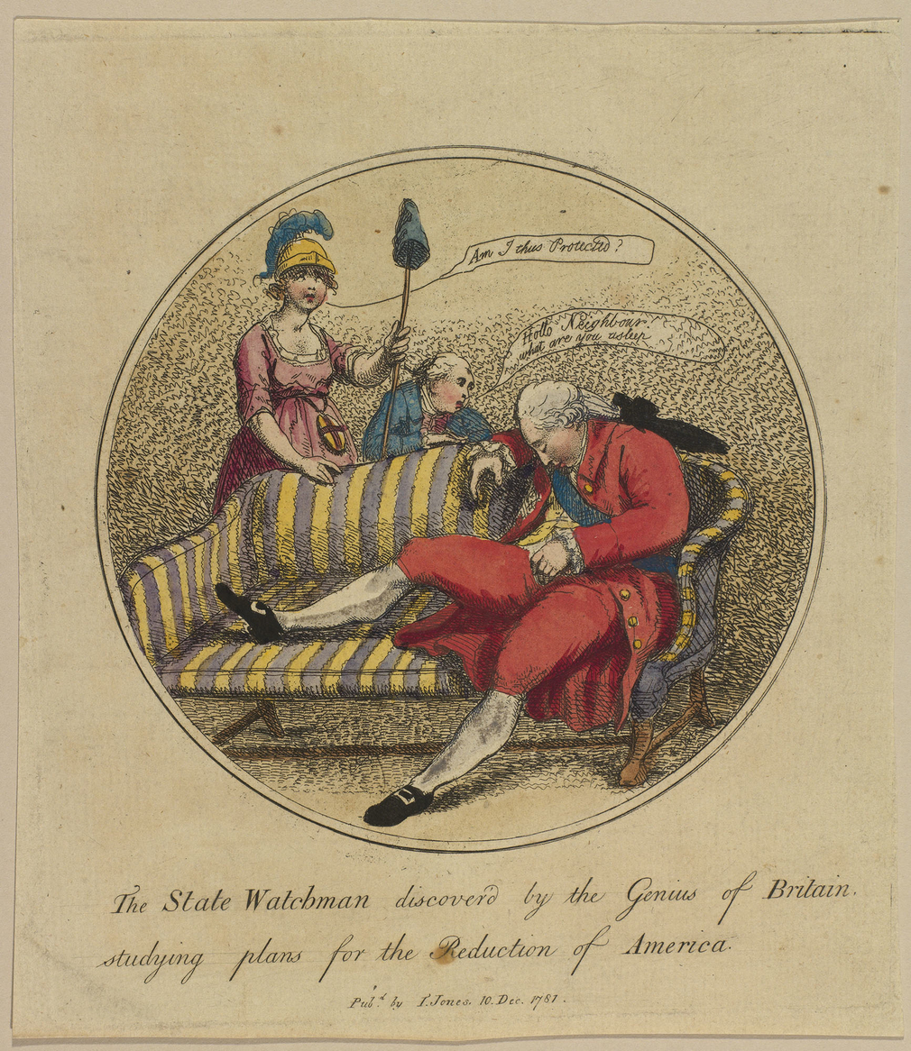 A hand-coloured print of George III or Lord North sitting on a sofa on which his right leg is raised. He is asleep and dreaming of how to recover America. Britannia stands on the left holding the cap of Liberty in her left hand. Another man, stands behind