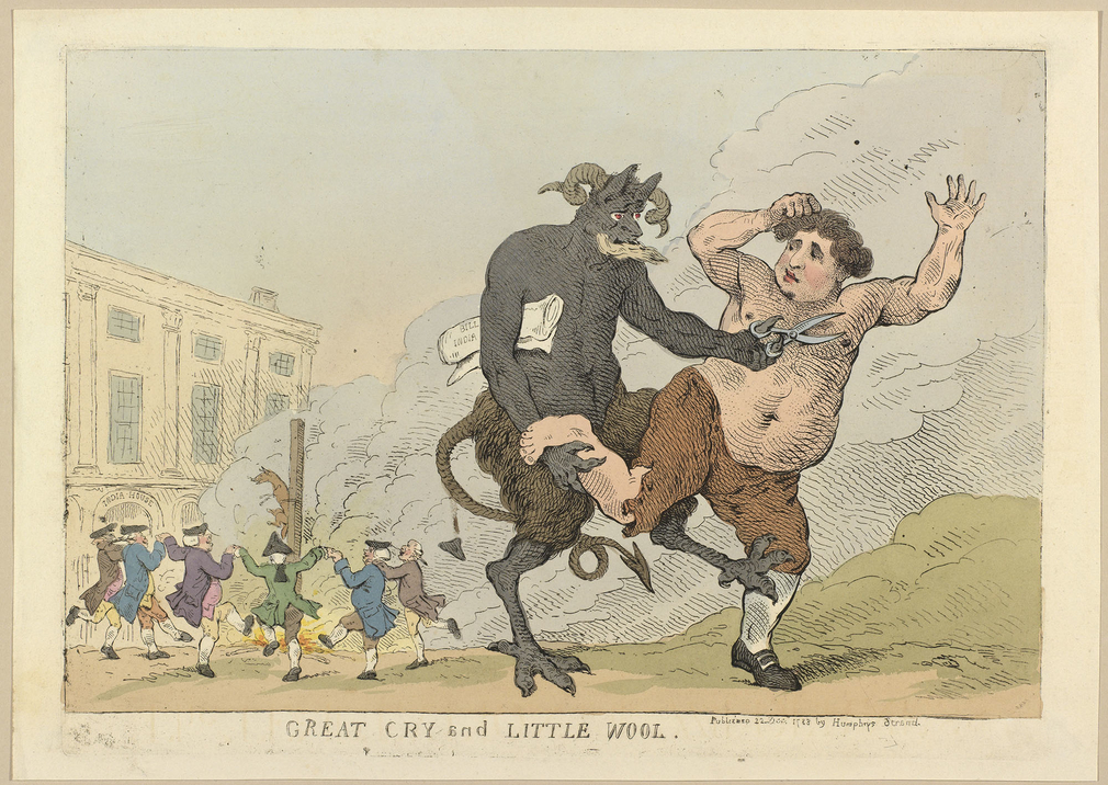A hand-coloured print of Charles Fox being assaulted by a devil that attempts to cut Fox's hair with a large pair of shears. It holds Fox by the right leg as he attempts to flee. A copy of the India Bill is carried under the right arm of the Devil. In the