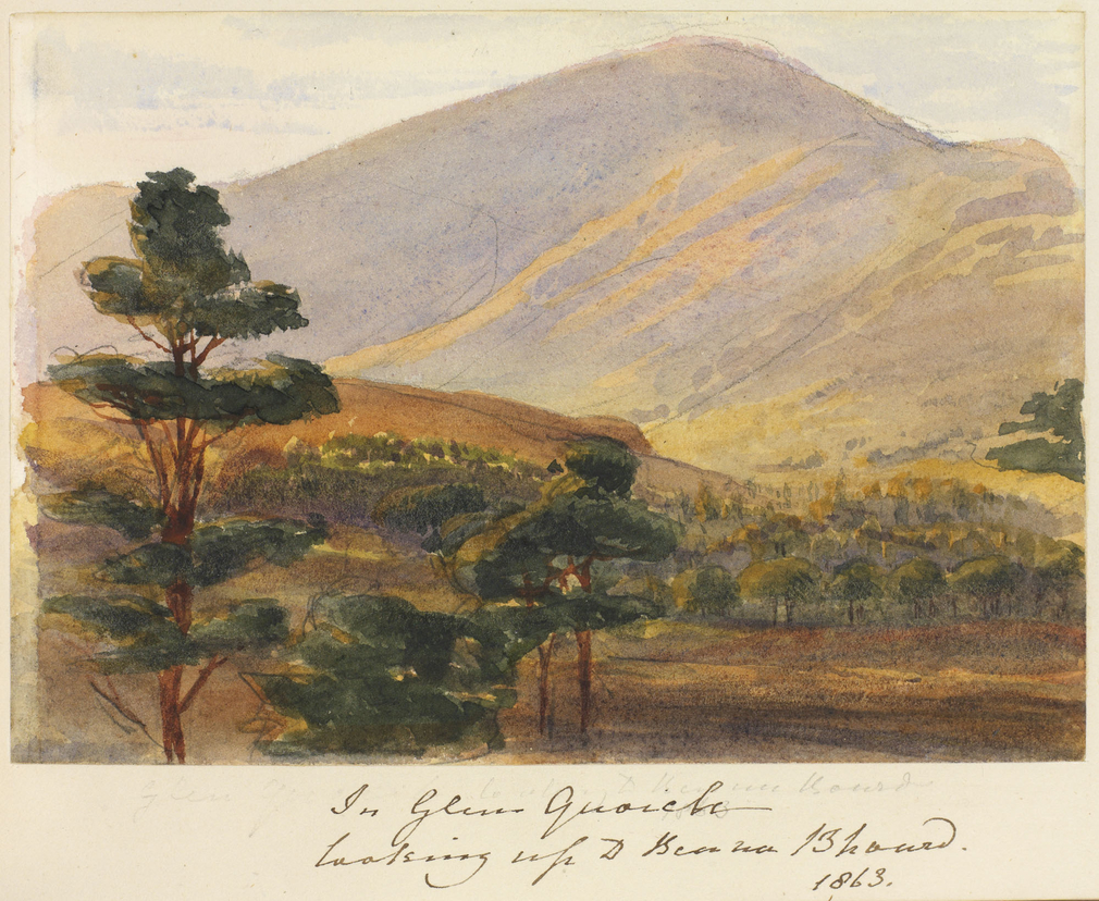 A watercolour showing a view of Beinn A' Bhuird from Glen Quoich. Trees are shown in the foreground to the left, with further trees shown in the glen behind. Beinn A' Bhuird is shown in the background. Inscribed below mounted sheet: In Glen Quoich looking