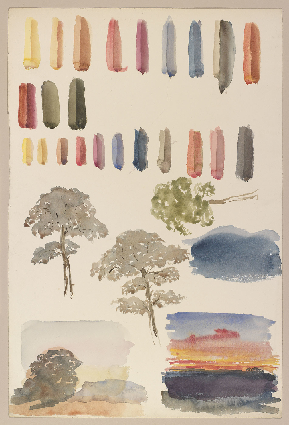 A watercolour showing studies of trees, landscapes and colour trials, possibly executed under the tutelage of WL Leitch. Two landscapes are shown at the bottom of the sheet, the study to the right shows a seascape at sunset and the study to the left shows
