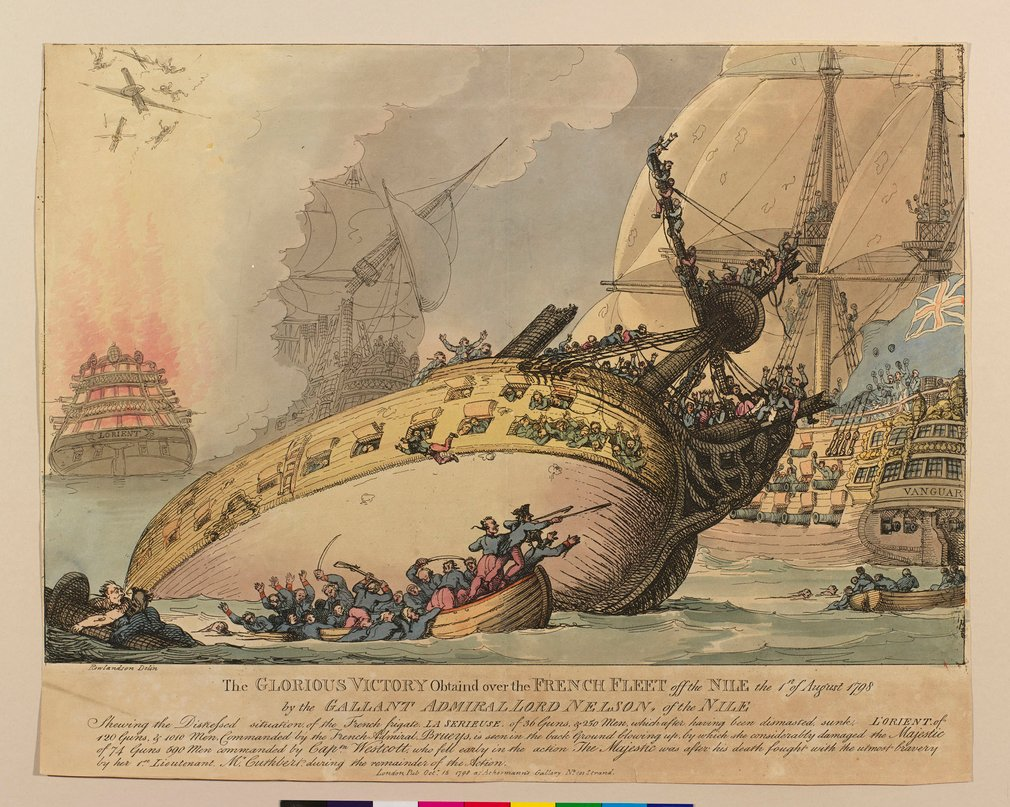 A hand-coloured print of the French frigate 'La Serieuse' being sunk by the British fleet during the Battle of the Nile On 1 August 1798, ships of the Royal Navy under Admiral Nelson defeated the French fleet in the Battle of the Nile. News of the victory