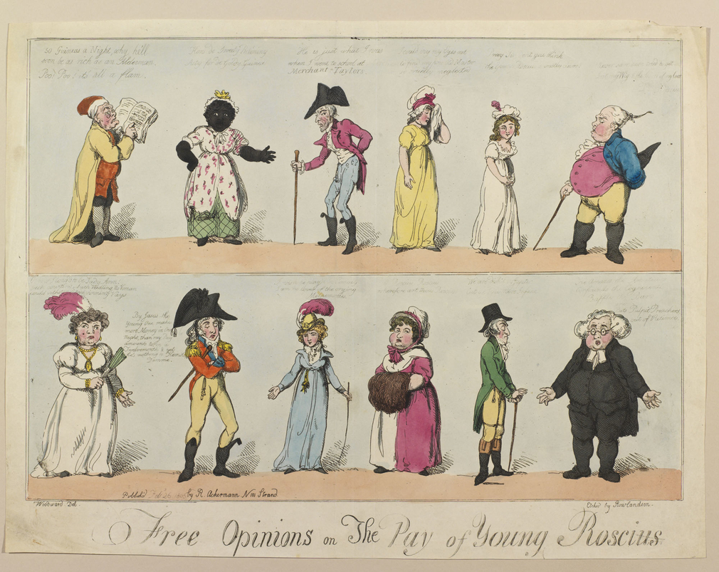 A hand-coloured print featuring twelve characters from different walks of life, all of whom express their opinions on the pay of William Henry West Betty, a popular child actor of the day. The characters comments appear above their heads (albeit faintly)