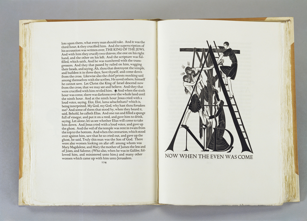Bound by Sangorski & Sutcliffe in pigskin over cream buckram.  This is a particularly striking example of the work of the Private Press Movement, which William Morris brought to prominence at the Kelmscott Press in the 1890s with the aim of raising the