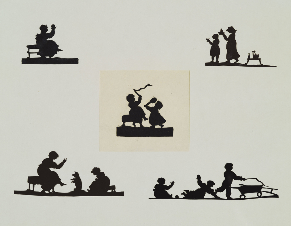 A silhouette showing a female figure seated on a bench. The woman is shown full-length, with a ball held raised in one hand.This silhouette was presented to Lady Dorothea Banks, wife of the naturalist and friend of the royal family Sir Joseph Ba