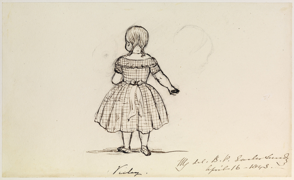 An ink drawing showing Victoria, Princess Royal. She is shown full-length, from behind, standing with one arm out to the side. She is wearing a checked nineteenth-century style child's dress, tied at the back with a ribbon. Her hair has been done in two p