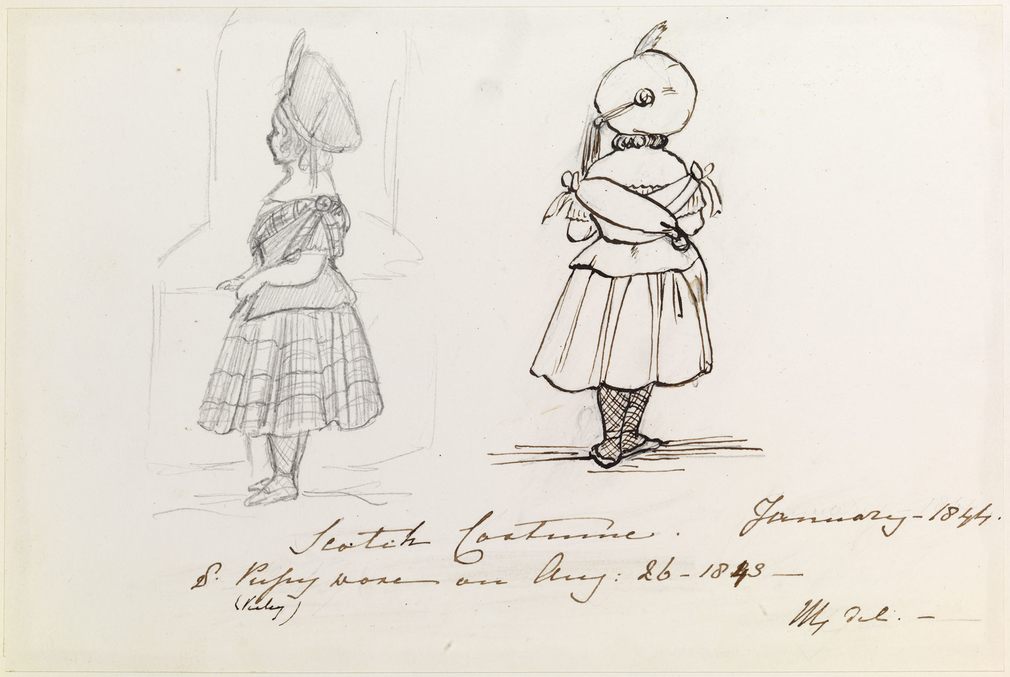 A pencil and an ink drawing showing Victoria, Princess Royal dressed in Scottish costume. She is shown full-length in both studies.In the study to the right she is shown from behind and in the study to the left she is shown facing left in profile. She is