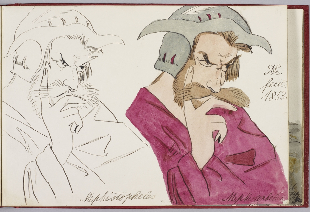 A pen and ink drawing and a watercolour showing two bust-length studies of the character Mephistopheles from Goethe's Faust, after an illustration by Moritz Retzsch. The pen and ink study is shown to the left and the watercolour is shown to the right. Bot