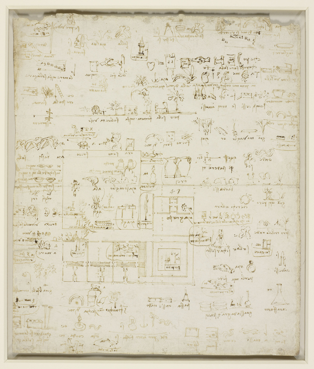 Recto: a sheet of puzzle writing, chiefly in the form of pictographs; the majority of the pictographs are made up of animals and plants. Verso: pictographs drawn over an architectural plan, possibly a project to remodel the Corte Vecchia ('Old Court