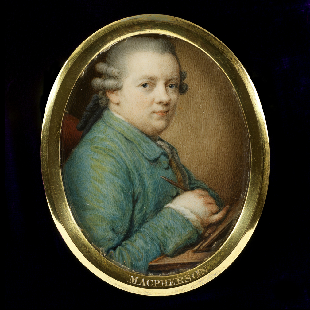 Giuseppe Macpherson (1726-1780) was born in Florence, the son of Donald Macpherson, a footman in the service of Alexander, 2nd duke of Gordon. He was a pupil of Pompeo Batoni and painted miniatures and enamel portraits in Italy, France and Germany, finall
