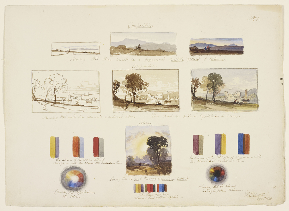 DM 3437: seven landscape views, nine bars of mixed colour, two circles of mixed colour.  Signed, inscribed and dated.