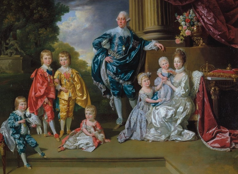 George III, Queen Charlotte and their six eldest children by Zoffany