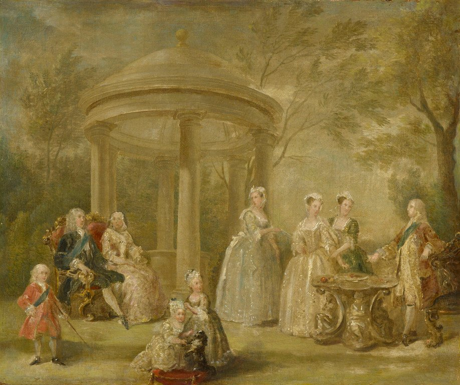 The family of George II seated beneath trees