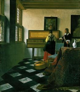 Johannes Vermeer, A lady at the virginals with a gentleman ('The Music Lesson'), c.1662-5