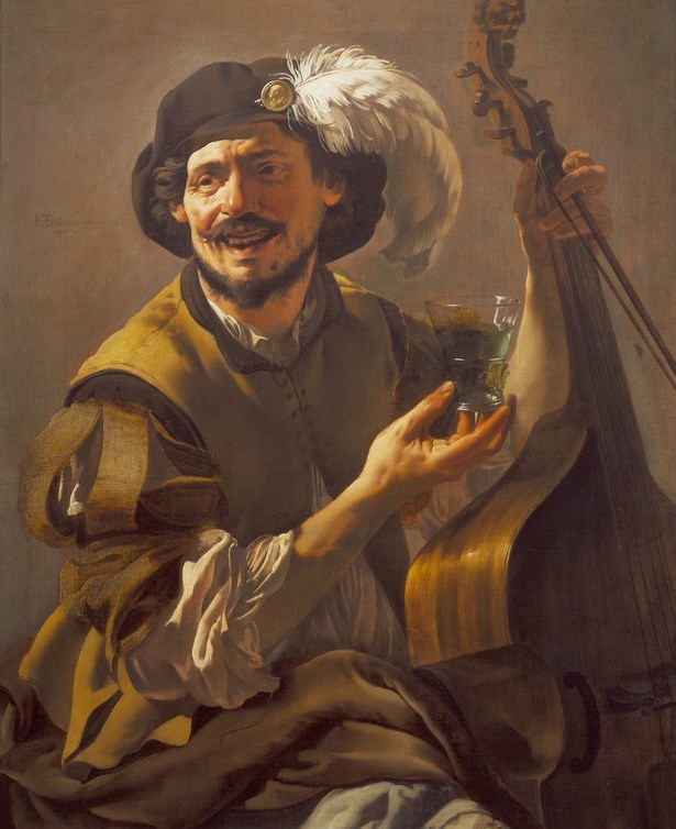 Painting of a musician laughing, and holding a lute