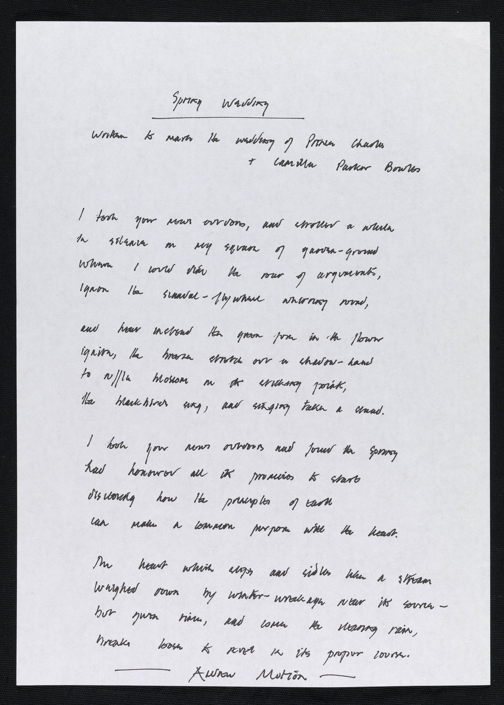 Spring wedding : written to mark the wedding of Prince Charles & Camilla Parker Bowles / Andrew Motion