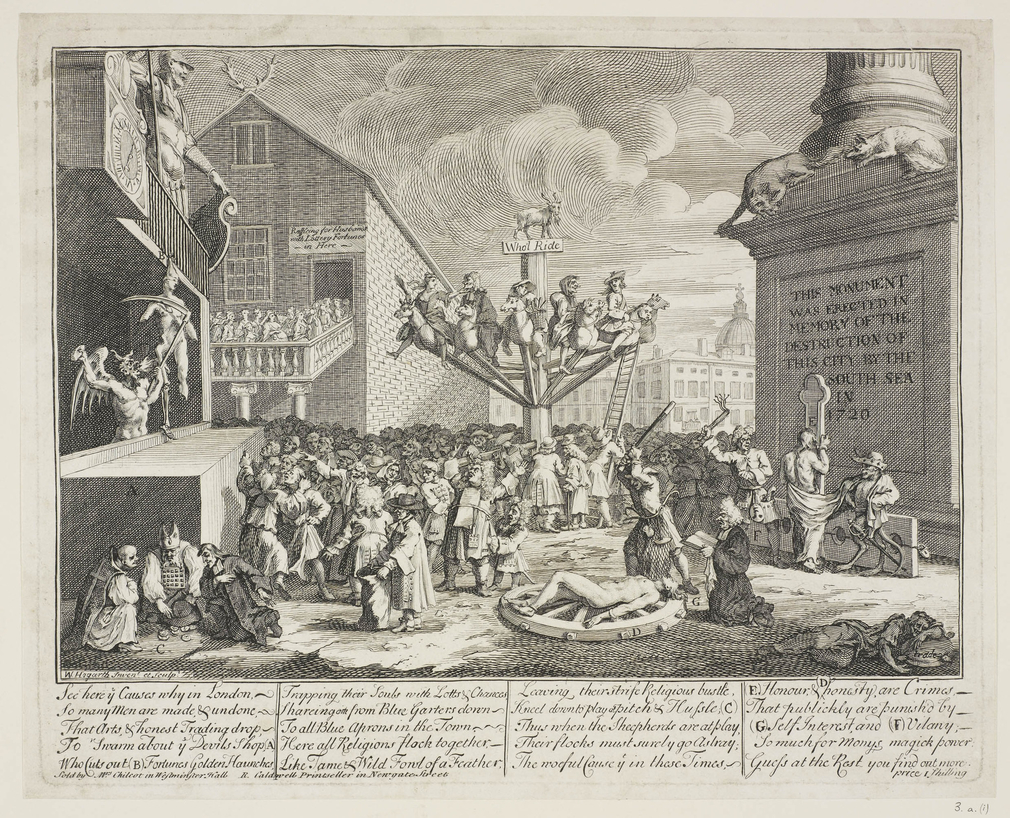 A satirical engraving imagining the downfall of London in the wake of the collapse of the South Sea Company in 1720. To the right is the base of the Monument to the rebuilding of London after the 1666 fire. Before it Hogarth shows a carousel and scenes of