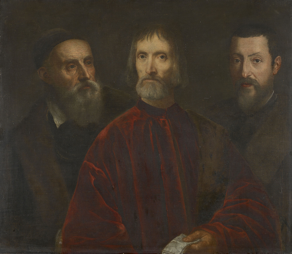 The inventory of Charles I's collection describes this painting as showing two figures: 'The Picture of Tichian himselfe painted by himselfe, and his freind by In a reed velvett venicia senators gowne'. An X-ray taken in 1957 indic