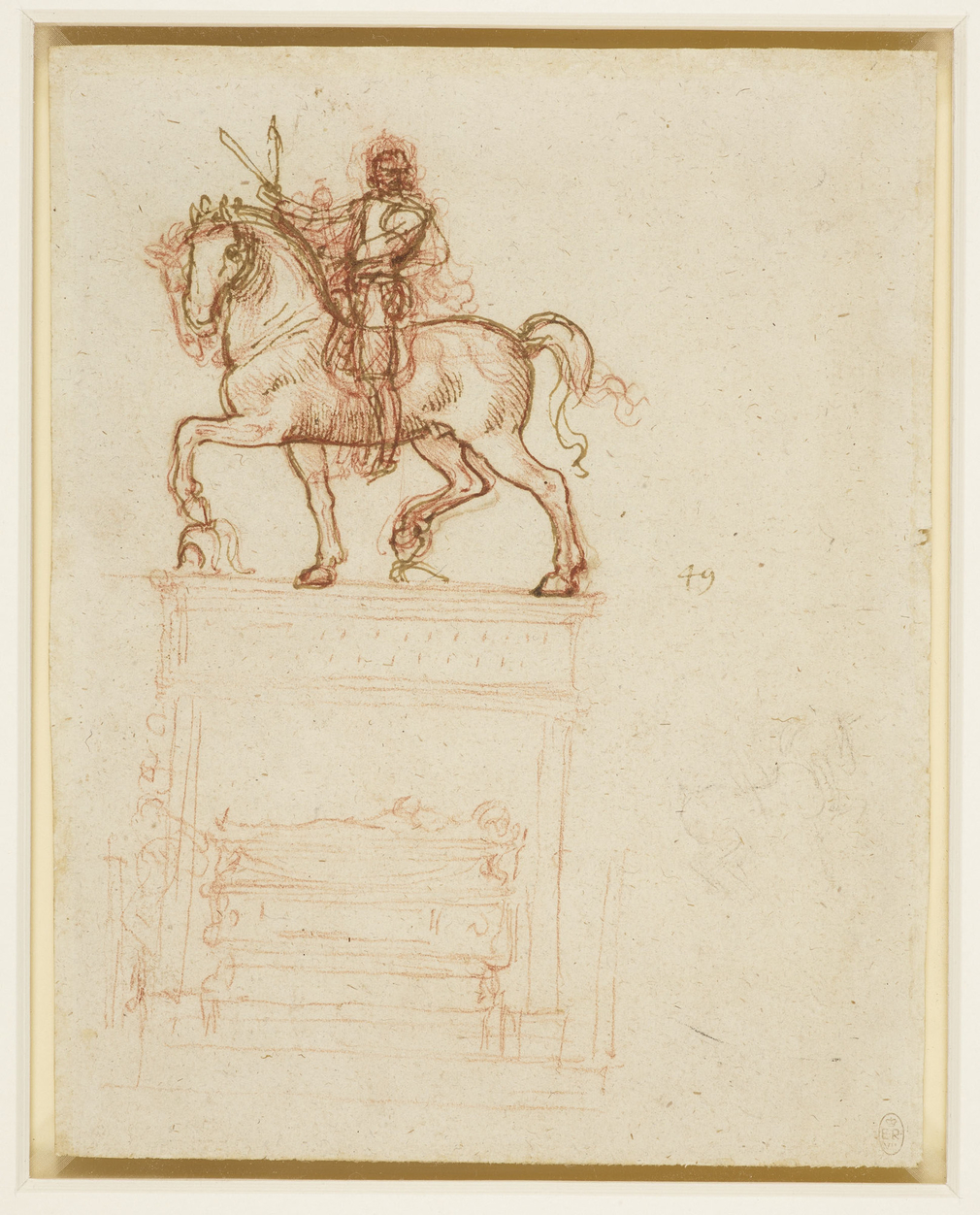 Recto: a study for the Trivulzio Monument, with the base and sarcophagus vaguely indicated;a vague sketch of a horse and rider, lower right. Verso: a partial tracing through from the recto, with the suggestion of a rider and a pedestal. Probably for