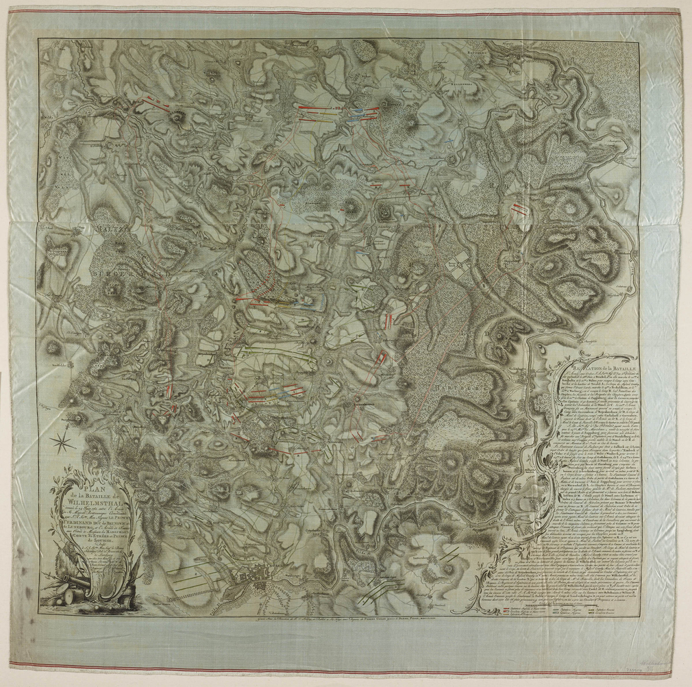 A map, printed on silk, of the Battle of Wilhelmsthal, fought on 24 June 1762 between the Allied army (British, Prussian, Hessian and Brunswickian troops) under the command of Field Marshal Duke Ferdinand of Brunswick, Prince of Brunswick-Lüneburg (1