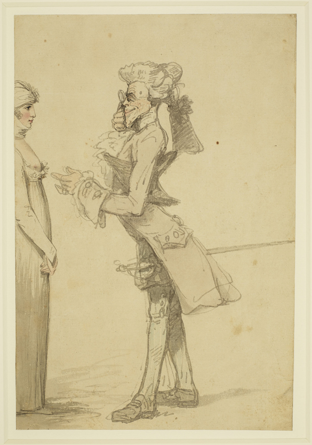 A pen and watercolour of a lascivious connoisseur avidly examining a female beauty with the aid of his eye glass. The man wears a wig and frock coat and carries a sword. The woman stands in right profile and with her hands in front of her, impassively ret