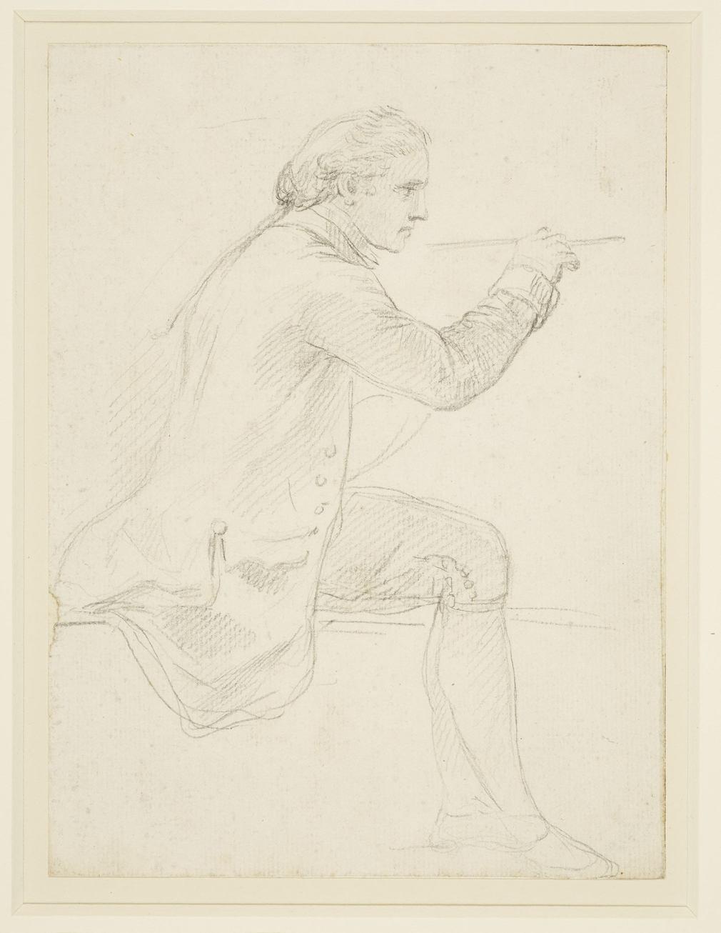 A drawing of Giovanni Battista Cipriani painting. He is seated, turned in profile to the right, with a paintbrush held in his right hand.<br /><br />A similarly charming drawing of Francesco Bartolozzi (RCIN 913294) was no doubt done from t