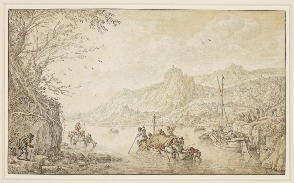 A drawing of a river with boats, one of which is being pushed out from shallow water in the foreground. A tree grows from a rocky outcrop on the left, and mountains loom in the distance. Signed and dated, lower left: HS [in monogram] / 1677. Herman Saftle