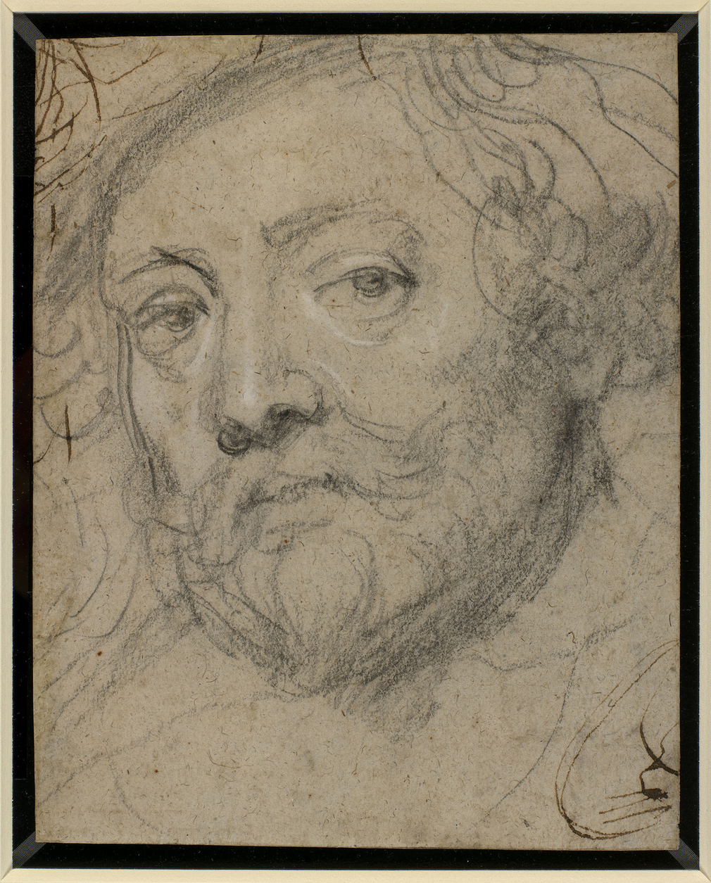 Recto: a self-portrait drawing of Sir Peter Paul Rubens; head only, tilted to the left, looking out at the viewer. Verso: a summary sketch of a seated couple embracing. This is connected with a drawing of Callisto and Jupiter, from a sheet of studies in t