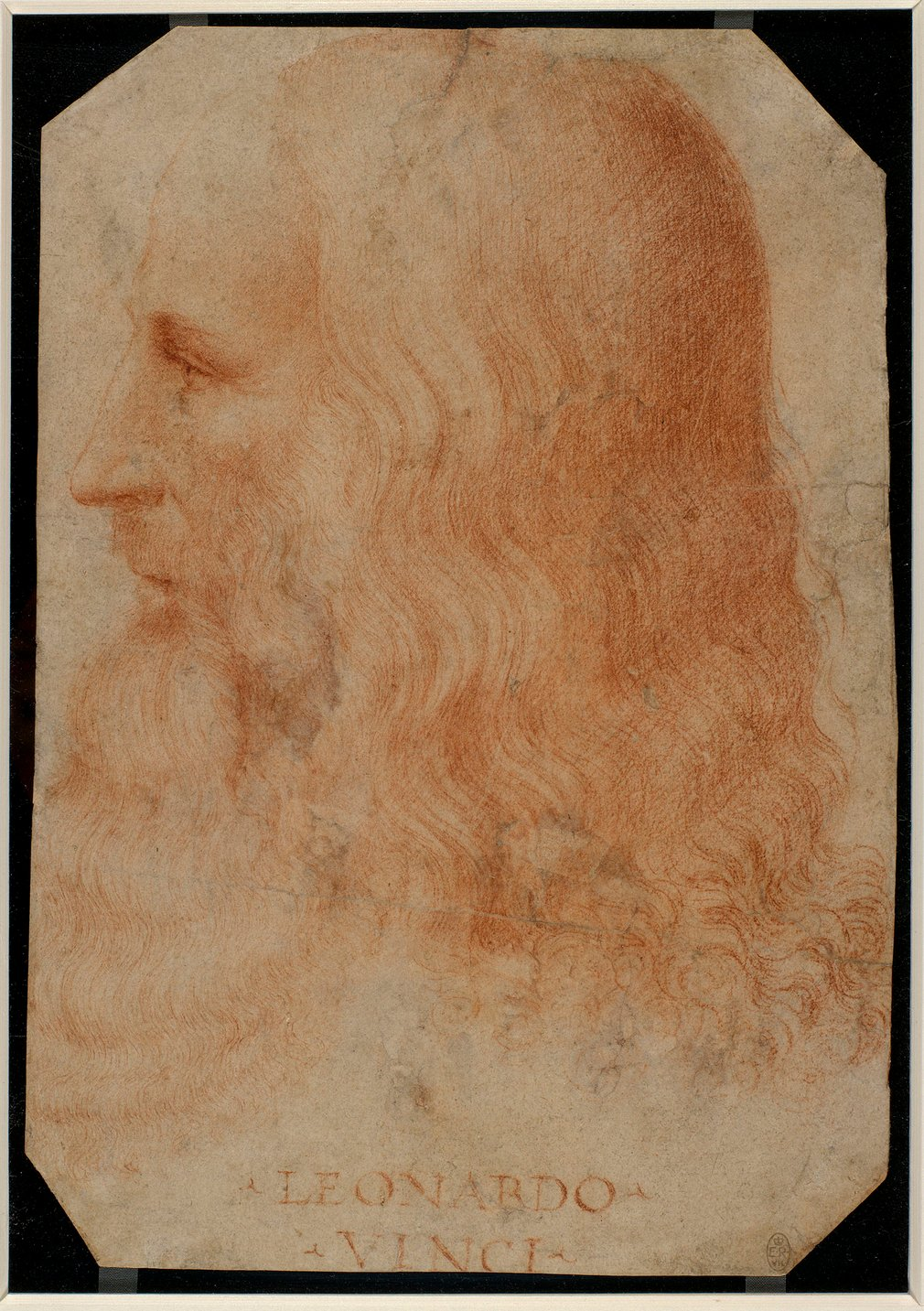 A portrait drawing of the head of Leonardo da Vinci, turned in profile to the left; with long wavy hair and a flowing beard.Inscribed below:LEONARDO/ VINCI.<br /><br />This is the only reliable surviving portrait of Leonardo da Vinci (14
