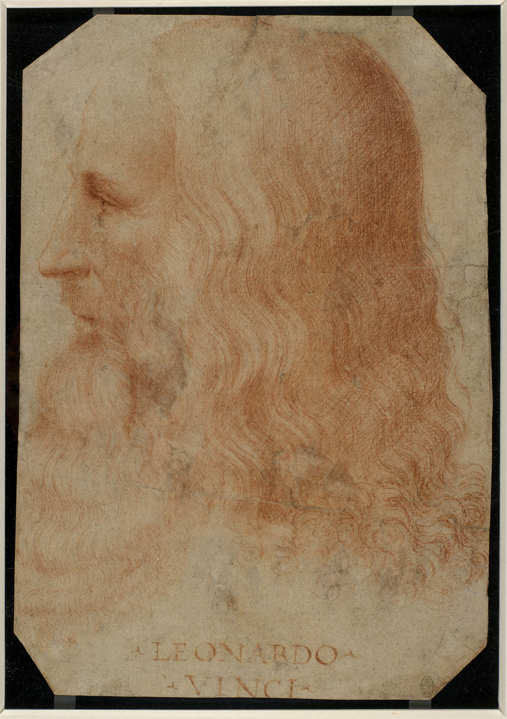 A portrait drawing of the head of Leonardo da Vinci, turned in profile to the left; with long wavy hair and a flowing beard.&nbsp;Inscribed below:&nbsp;LEONARDO&nbsp;/ VINCI.<br /><br />This is the only reliable surviving portrait of Leonardo da Vinci (14