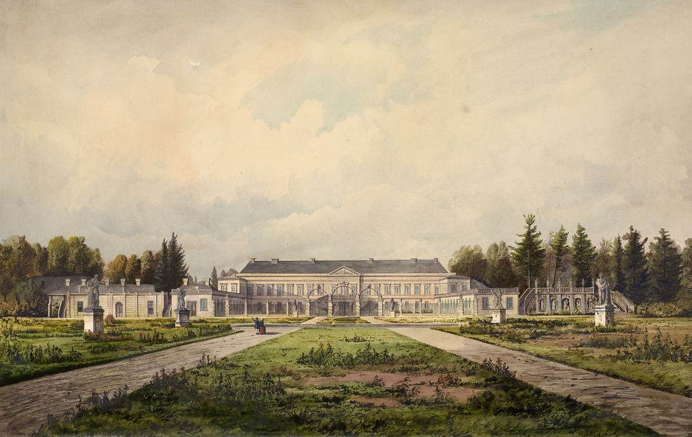DM 6237: a view of the garden front of the palace, with two small figures wearing seventeenth-century costume.  The Queen visited the palace on 12 August, 1858.