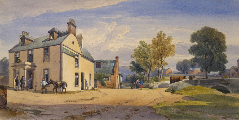 DM 3362: Inn on the left with figures and a man leading a horse.  A bridge with cows on right.  The royal party stayed incognito at this inn on 20 Sept 1861.  (By the late 1860s the inn had been renamed the Eagle Inn.)  Signed and dated.