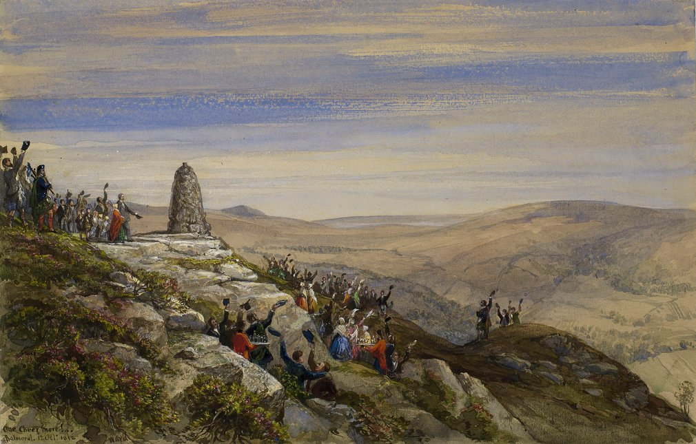 A watercolourdepicting the completion of a cairn built to mark Victoria and Albert's acquisition of Balmoral,surrounded by people cheering and with servants serving refreshments.Signed,dated and inscribed at bottom: 'One Cheer more