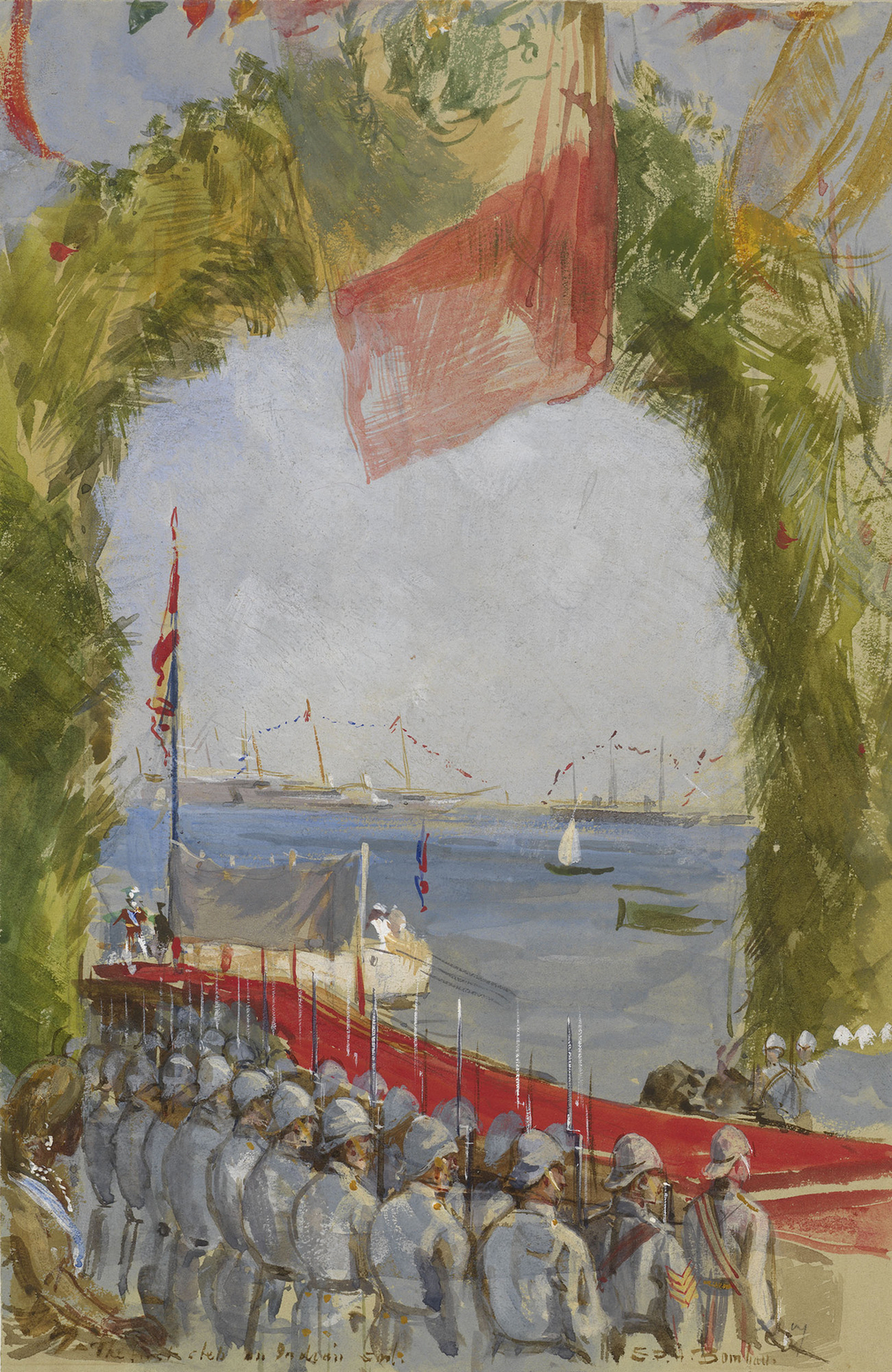 A watercolour depicting Albert Edward, the Prince of Wales, landing at the dockyard in Bombay on 8 November 1875. Inscribed along the bottom and signed: The first step on Indian soil./ S.P.H.Bombay.  In October 1875, Albert Edward, the eldest son of Queen