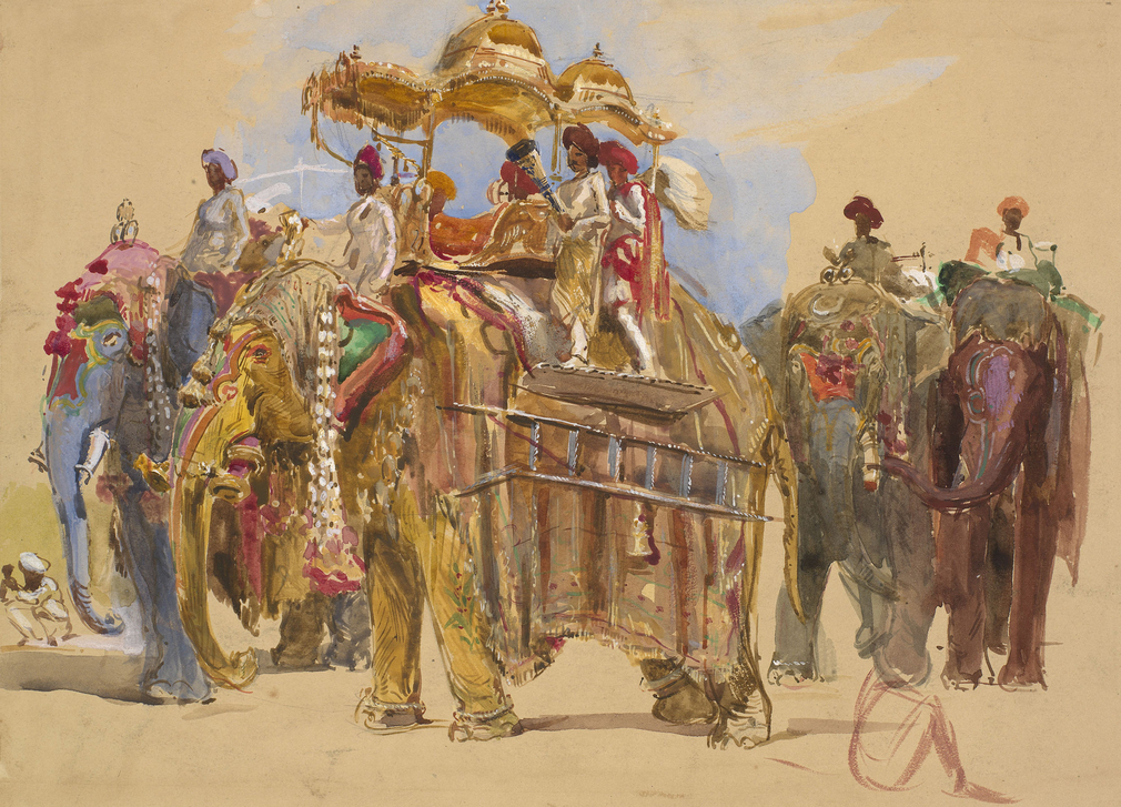 A watercolour depicting a procession of elephants, one of which has a howdah (seat) on its back, seen by Albert Edward, Prince of Wales, on his visit to Baroda at the invitation of Sayaji Rao III, Gaekwar of Baroda, on 19 November 1875.<br /><br />In Octo