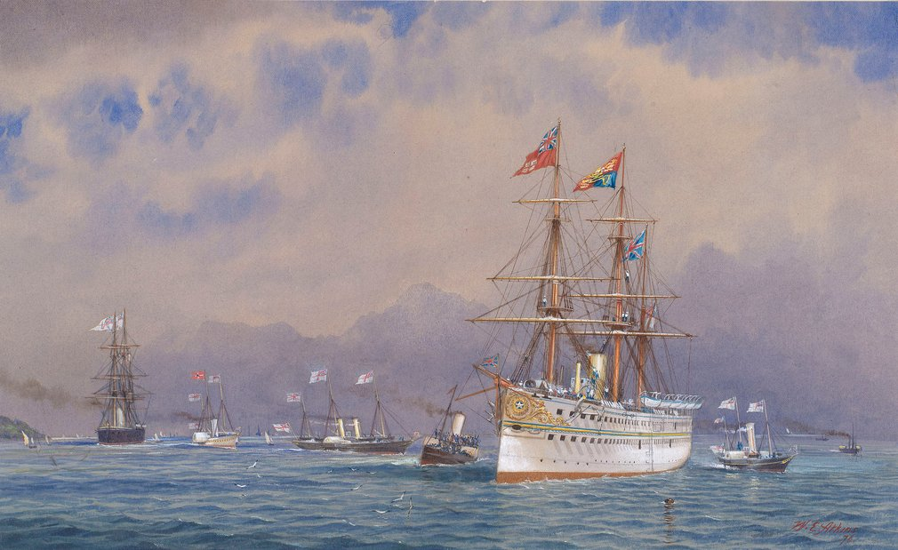A watercolour depicting&nbsp;a view of HMS Serapis entering the Solent&nbsp; on 11 May 1876 on its return from the Prince of Wales's Indian tour. Signed and dated: WE Atkins 76.<br /><br />In October 1875, Albert Edward, the eldest son of Queen Victoria,