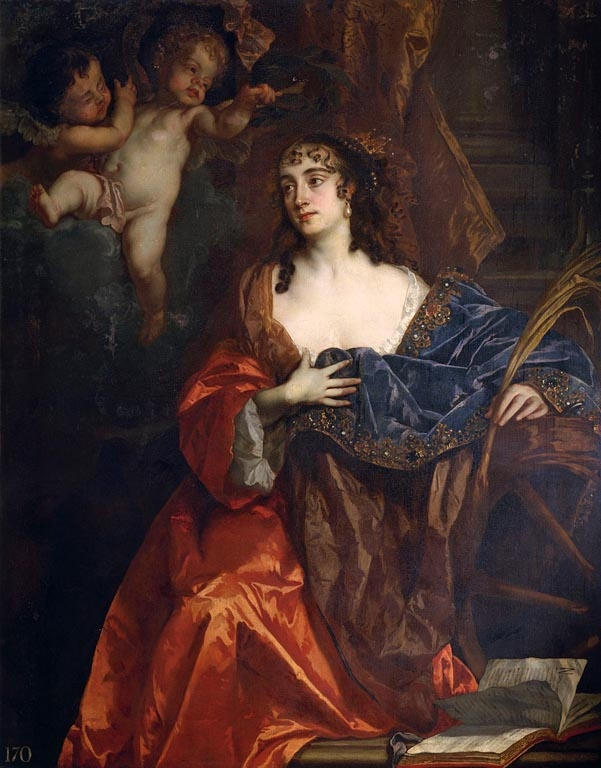 In this portrait Eleanor Needham, Lady Byron is depicted as Saint Catherine of Alexandria in a guise probably intended to flatter Charles II's Queen, Catherine of Braganza. Accordinly she carries the martyr's palm branch and leans upon a wheel. The sitter