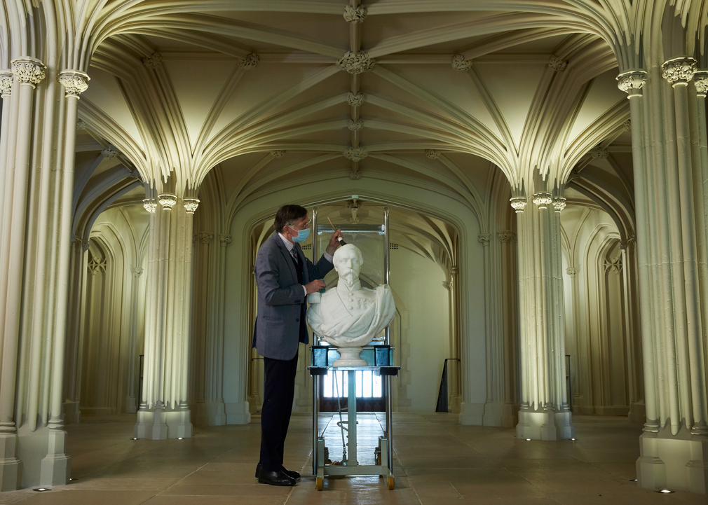 A marble bust of Emperor Napoleon III is installed in the Inner Hall at Windsor Castle