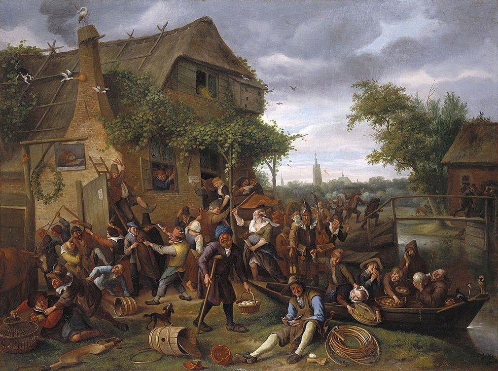 Pieter Bruegel the Elder was still revered in the Low Countries a century after his death in 1569. At this date in his native Flanders artists, like David Teniers, were still creating multi-narrative crowd scenes; in the Dutch Republic on the other hand g