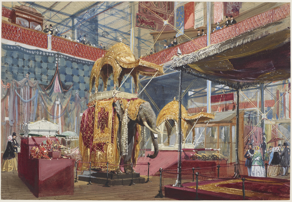 A watercolour showing some of the Indian exhibits at the Great Exhibition. In the centre is the howdah lent by Queen Victoria that had been presented to her by the Nawab Nazim of Bengal. For other views of the Indian section, see RCINs 919968, 919943, 919
