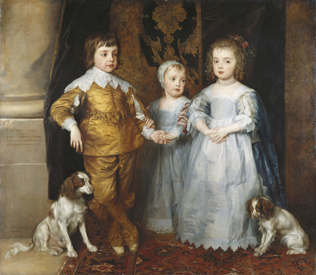 Earlier in 1635 Van Dyck had painted a group of the Queen's eldest children, to be sent to her sister, Christina, Duchess of Savoy, in exchange for portraits of the Duchess's children. However, the dispatch of the paintings was delayed and it was repo
