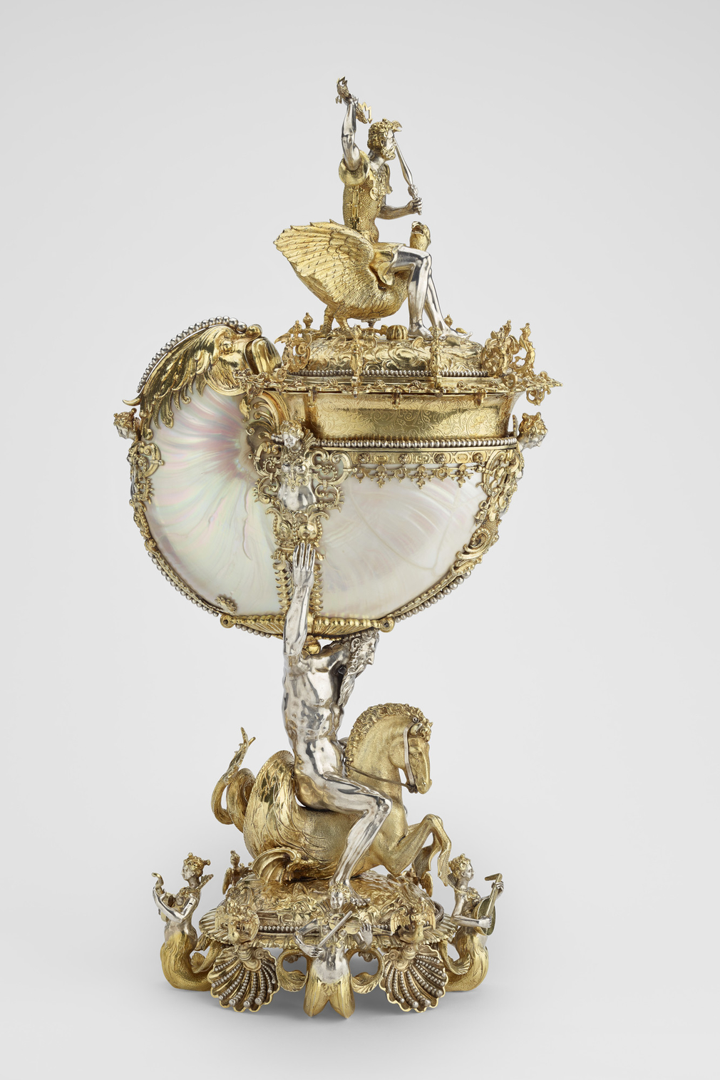 This spectacular <em>Kunstkammer</em> object is one of the finest examples of antiquarian plate acquired by George IV. On its arrival in 1823, it joined a growing collection of virtuoso sideboard cups of varying dates and nationalities. <br>  <br>Although