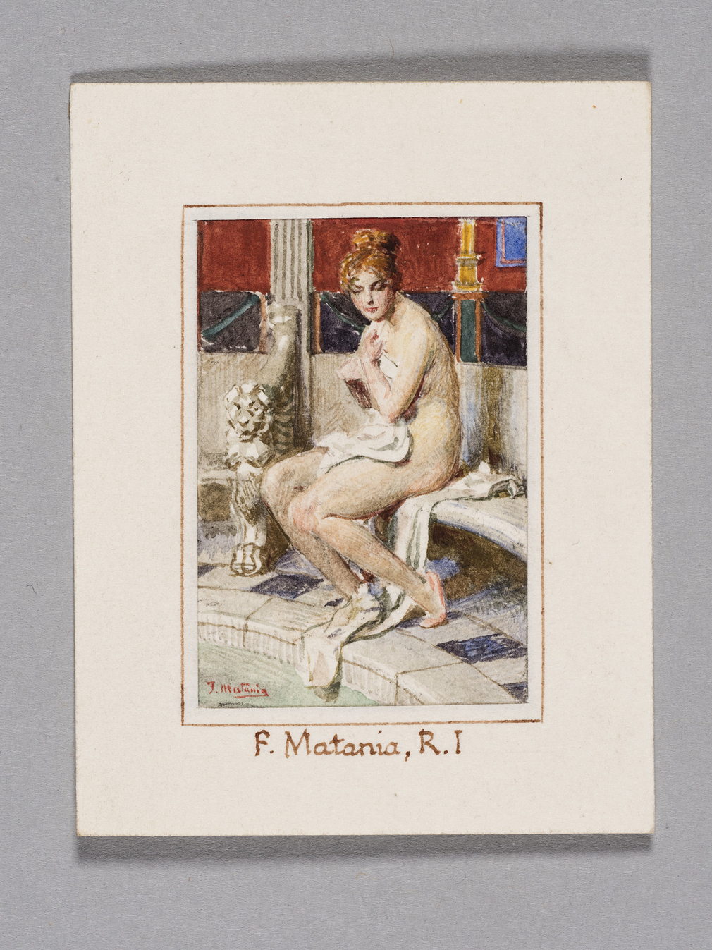 Full length nude female figure, seated on curving marble seat, the circular bath to L at floor level.