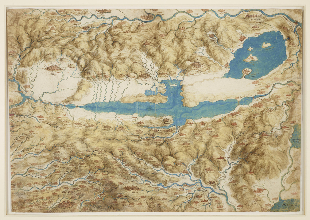 Recto: a drawing of a map showing Arezzo, Borgho san Sepolcro, Chiusi and Siena. Verso: a profile facing left (studio work).