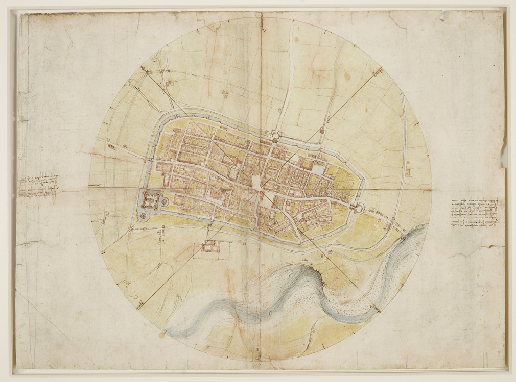 A drawing of a map of Imola, showing the city enclosed by a ring. Four lines cross the plan, forming on the circle eight points of the compass, at which the names of the winds are written in Leonardo's hand, clockwise from one o'clock.<br>