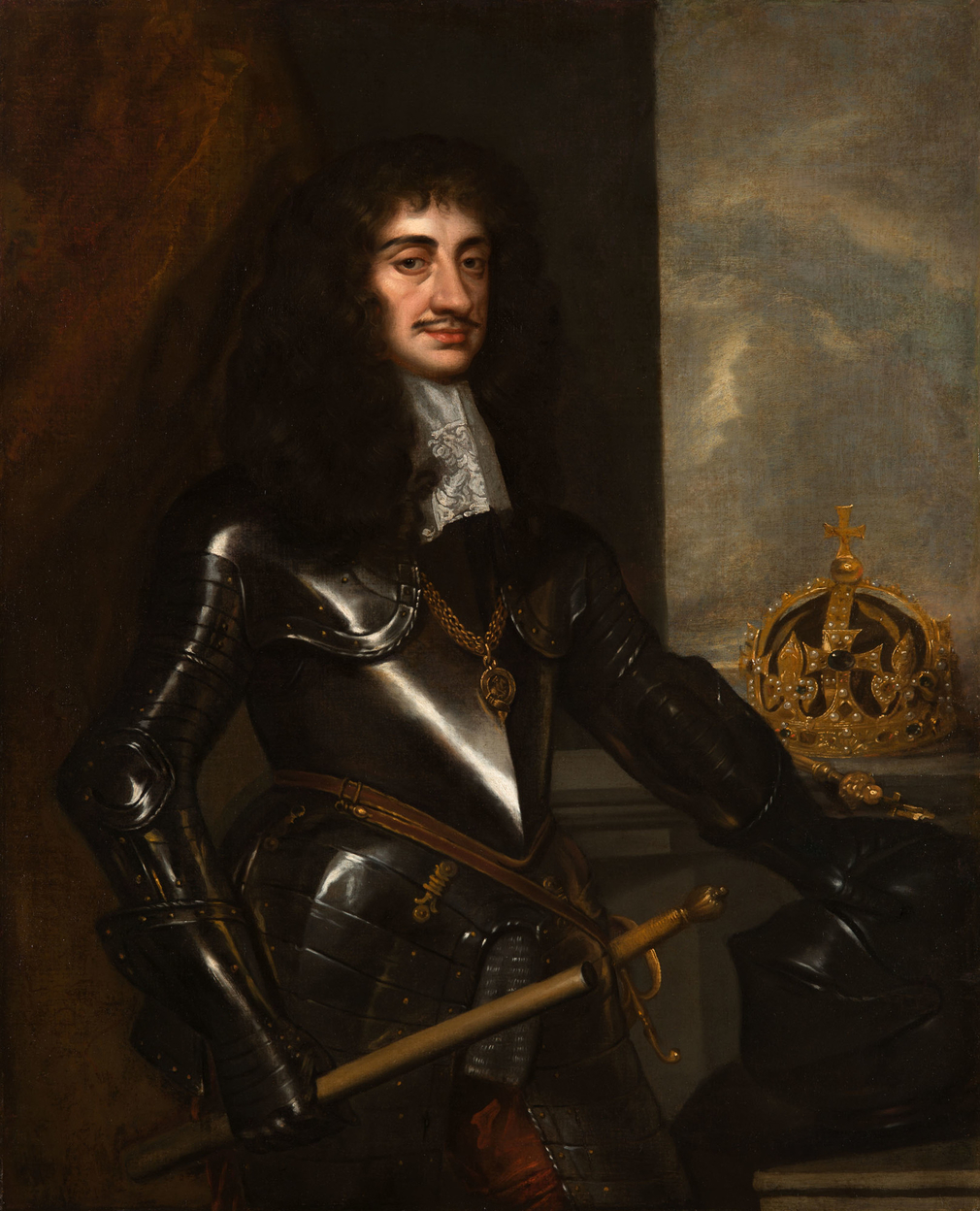 Three-quarter-length portrait of Charles II (1630-85), standing in armour, wearing the chain of the Garter, holding a baton in his right hand, and resting his left hand on a helmet below the crown and sceptre. The canvas appears to have been left unfinish