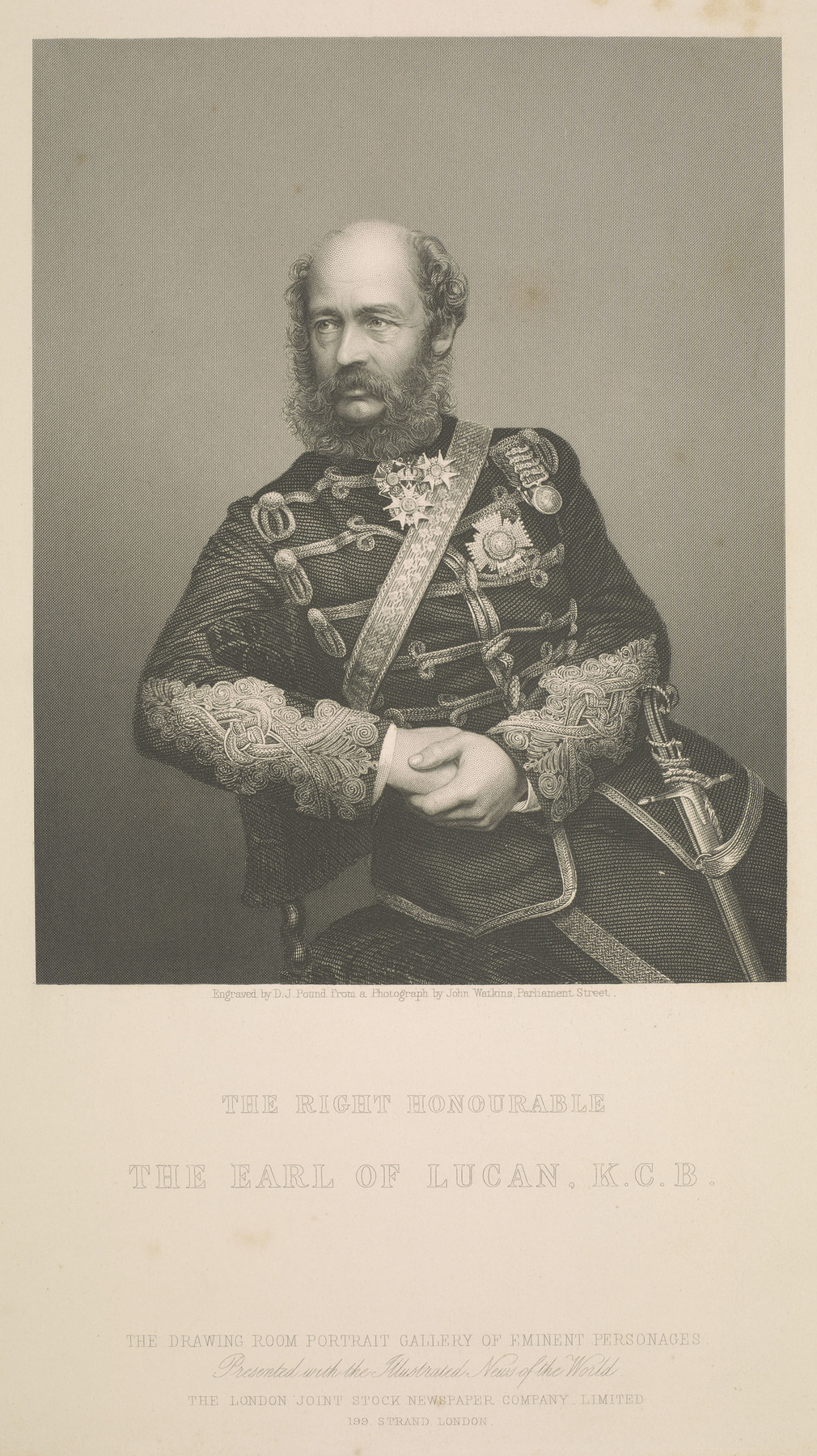 Intaglio printof George Charles Bingham, 3rd Earl of Lucan. Lord Lucan is seated facing partly left, wearing military uniform. The print is after a photograph by John Watkins.
