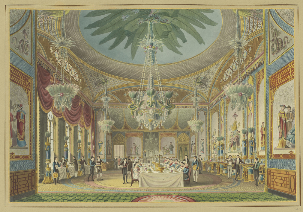 <p>A hand coloured printdepicting a view of the banqueting room inthe Royal Pavilion, Brighton.For an earlier state see RCIN 708000.ap. Plate20of thereissue of Nash's original publication of illustrations of the exterio